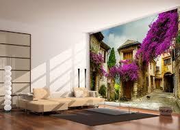living room wallpaper murals grey walls