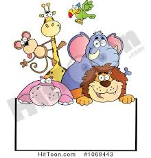 group of zoo animals clipart. Clipart Group Of Zoo Animals Over Sign Royalty Free Vector Illustration 1068443 With