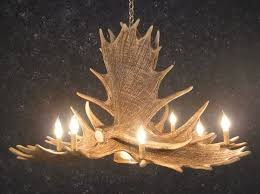 cast horn designs faux 6 antler moose chandelier with downlight