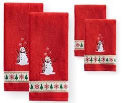 Holidays Snowman Lfh Red Christmas Bathroom Hand Towels Holiday Cheer Happy Holidays
