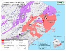 map as of 2 00 p m hst august 6 2018 given the dynamic nature of kīlauea s lower east rift zone eruption with changing vent locations