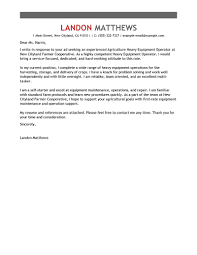 Heavy Equipment Operator Cover Letter Sample Letters Free Resume