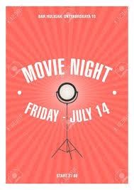Movie Night Invitation Templates Bright Colored Poster Or Invitation Template For Movie Night