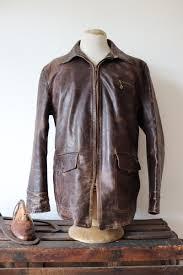 vintage 1940s 40s 1950s 50s sears roebuck hercules horsehide brown leather jacket 44 chest talon zipper rockabilly half belt car coat