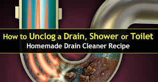 how to unclog a drain shower or toilet homemade cleaner recipe