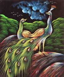 flashing painting of love birds pea peahen in silent night