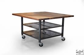 Industrial Kitchen Table Furniture Walnut Steel Industrial Kitchen Island Dining Table Real