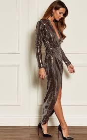 Rose Gold Deep V Wrap Over Sequin Dress By John Zack In 2019