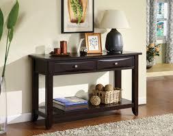 new solid long black console dark wood sofa table design