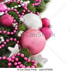 Christmas Ornaments Border Pink And Silver Christmas Ornaments Border