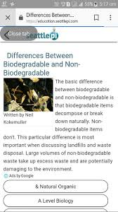 Differentiate Between Biodegradable And Non Biodegradable Substances