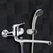 chrome wall mount tub faucet with