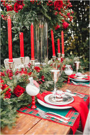 Adorable Beautiful Christmas Table Settings By White Plates With Red  Napkins Also Silver Glass Completed With