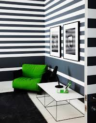 Kids Room Striped Walls Grey White Green Chair