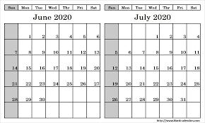 June July 2020 Calendar Blank Two Month June July 2020 Calendar Printable Template