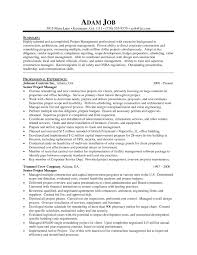 Sample Resume Senior Project Manager Construction Archives Onda