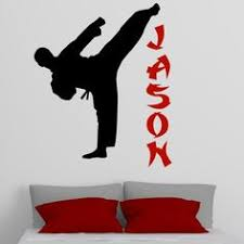 Bring your child's bedroom to life with this personalized karate wall decal  that features a high