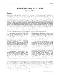 Pdf Scientific Basis For Polygraph Testing