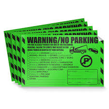 Parking Violation Stickers For Cars Fluorescent Green 100 Illegal Warning Reserved Handicapped Private Parking And Moreno Parking Hard To