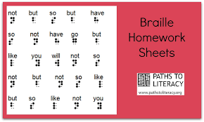 Braille Homework Sheets | Paths to Literacy