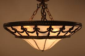 image of antique stained glass chandelier lamp shades