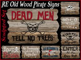 Pirate Signs Decor Second Life Marketplace RE Old Wood Pirate Sculpted Signs 60 1