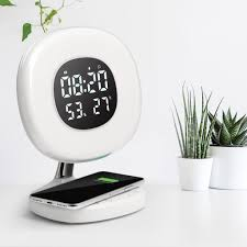 <b>Digital Alarm Clock</b> with 6 color <b>LED</b> and Wireless Charging Station ...