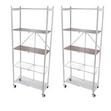 origami 2pk of 5 tier pantry racks with wooden shelves