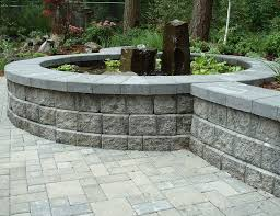 block wall gray water feature pond swimming pool woody s custom landscaping inc battle