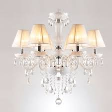 warm and lavishsix lights traditional crystal accent fabric shade glass chandelier