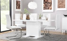 gallery osaka white high gloss extending dining table and 6 chairs set