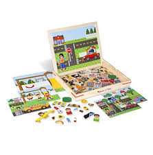 melissa doug wooden magnetic matching picture game with 119 magnets and scene cards