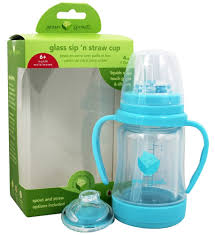 green sprouts glass sip n straw cup aqua 4 oz at