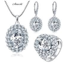 luxury vintage ring earrings pendant necklace wedding jewelry set big oval cut nscd 925 sterling silver