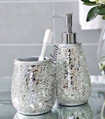 bathroom accessories sets silver. Silver Sparkle Mirror Glass Crackle Bathroom Dispenser \u0026 Tumbler Accessory Set Accessories Sets O
