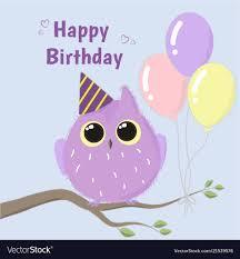 Cute Purple Owl Happy Birthday Card Royalty Free Vector