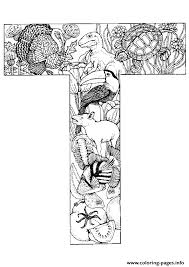 Animal Alphabet Letter T Coloring Pages Printable
