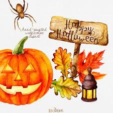 pumpkin drawing with leaves. halloween watercolor clipart pumpkin autumn leaves от reachdreams drawing with