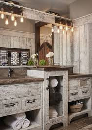 Rustic Home Lighting Rustic Bathroom With Relacimed Barn Hand Hewn And Rough Sawn Wood Cabinet Shiplap Benchmark Studio Inc Images By Ashley Avila Photography Home Lighting A