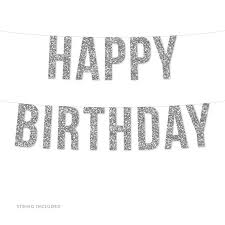 Blank Birthday Banner Silver Happy Birthday Real Glitter Paper Pennant Hanging Banner Includes String No Assembly Required