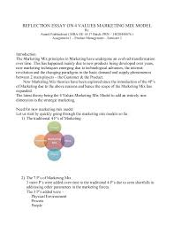 reflection essay v marketing mix