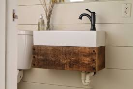 diy floating reclaimed wood vanity with ikea sink girl meets carpenter featured on remodelaholic