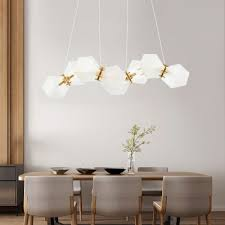 elegant and charm frosted glass shade chandelier multi light gild geometric drop light for dining bar