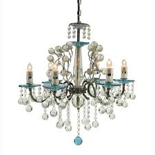 rovello iron six light crystal chandelier with blue crystal glass