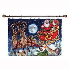 Latch Hook Designs Free Amazon Com Herrschners Santas Sleigh Ride Latch Hook Kit