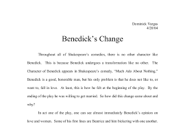 benedick s change in much ado about nothing gcse english document image preview