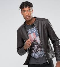 barneys originals men s brown tall faux leather biker jacket