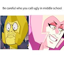 be careful who you call ugly in middle ni cartoon text face expression pink