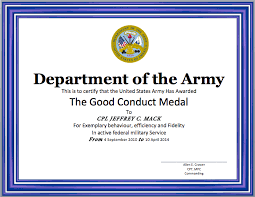 Military Certificate Templates Good Conduct Certificate Template Word Templates 99