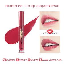 Lip ลิปสติกเนื้อชายน์สุดชิค แต่ไม่เหนียวเหนอะหนะ pp501 Etude ให้ชุ่มฉ่ำ Lacquer ดูอวบอิ่มอยู่เสมอ Shine กับสีที่สดชัดฉ่ำวาว Chic